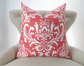 Coral Throw Pillow Cover, Damask Pattern -MANY SIZES- ozborne decorative throw euro sham custom cushion modern contemporary premier prints