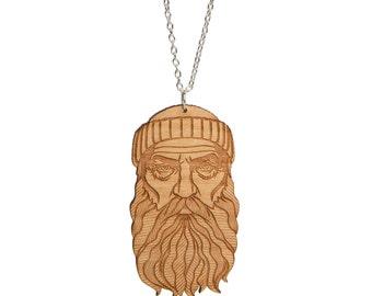 Bearded Man / Lumberjack necklace - laser cut varnished cherry wood