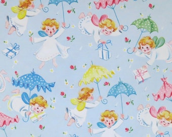 Vintage BABY SHOWER Gift Wrap - Wrapping Paper - Adorable ANGELS with Presents - with Coordinating Gift Tag - 1950s