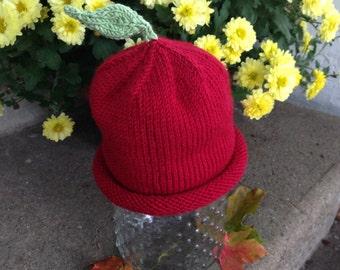 Baby Apple Hat, Knitted Apple Hat, Newborn Apple Hat, Red Apple Hat