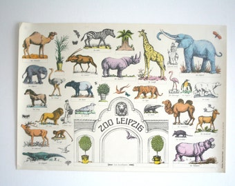Original Zoo Advertising Poster- Leipzig (GDR/East Germany) 1970s- Zoo entrance design P108