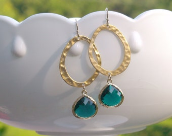 Emerald Green Earrings in Gold - Gold and Emerald Oval Earrings - May Birthstone, Emerald Wedding Bridesmaid Jewelry, Dark Green