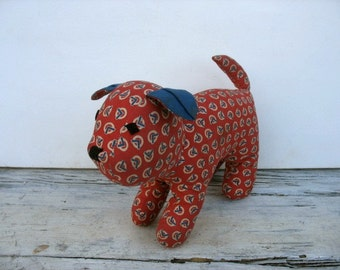 Calico dog, hand sewn vintage 1950's stuffed dog, red white blue,  vintage fabric, Art Deco geometric