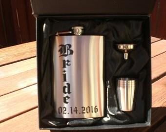 Personalized Stainless Steel Flask Set. Groomsmen Gift, Best Men , Men Accessory, Groom, Bride, Party Favor, Bachelor ,Wedding Accessories.