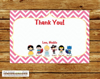 Kids Roller Skating Costume Party PINK Thank You Card | Roller Skate Costume Party Thank You Card | Birthday Thank You Card