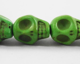 """Green Skull Beads 12mm (12x10mm) Lime Green Stone Skull Beads, Howlite Gemstone Skull Beads, Skeleton Beads on a 7 1/2"""" Strand with 16 Beads"""