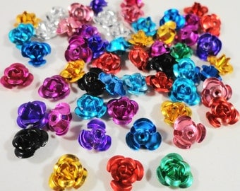 Metal Flower Beads 7mm Aluminum Multi Color Rose Beads, Flower Sequins, Assorted Color Beads, Beads for Jewelry Making, Craft Supplies, 50pc