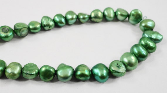 "Green Pearl Beads 5-7mm Freshwater Pearl Beads Baroque Pearl Beads Pearl Nugget Beads Freeform Pearl Beads on a 14"" Strand with 57 Beads"