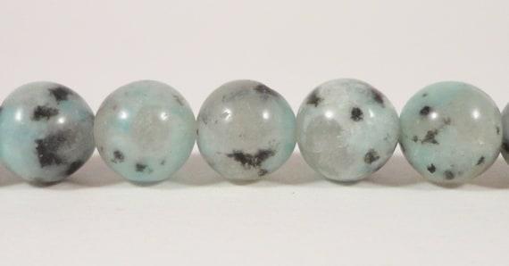 "15"" Strand Kiwi Jasper Beads, 8mm Round Jasper Gemstone Beads Spotted Stone Beads Black and Green Stone Beads on a Full Strand with 46 Beads"