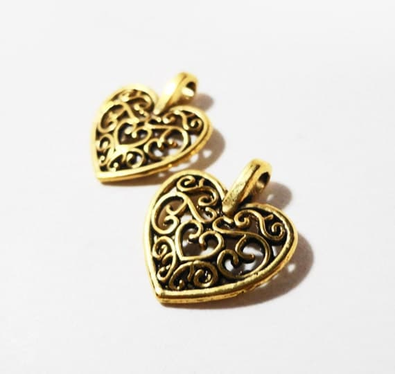 Gold Heart Charms 16x14mm Antique Gold Metal Filigree Heart Charms, Gold Heart Pendants, Valentine's Day Charm Jewelry Making Supplies 10pcs