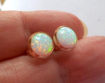 opal, rose gold, stud earrings, 4mm, 8mm wide cabochons, Australian white gemstone opal