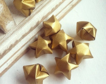 50 metallic gold paper origami starts without quotes- Spring - wedding decor - wedding favour - custom