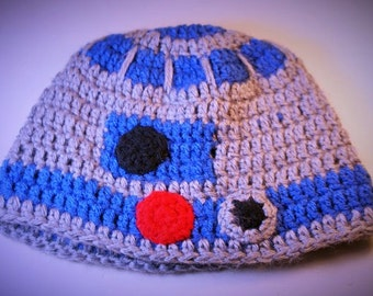 Robot Hat, Space Droid Beanie, Crocheted Baby Hat, Child, Teen or Adult SciFi Cosplay Hat, Gifts for Him, Halloween Costume,