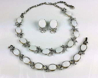 Vintage NECKLACE, Clip-on EARRINGS, & BRACELET Parure White Thermoset Lucite and Silver-tone Set with Rhinestones, Choker Jewelry lot 1950s
