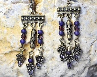 Purple Iridescent & Fire Polished Czech Glass Brass Dangle Chandelier Daisy Boho Earrings
