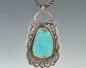Jump! ~ Large Alacron Turquoise Sterling Necklace Ready to Ship by ShesSoWitte
