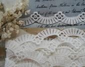 1y Vintage Venise Schiffli Lace Floral Swag Garland Embroidered Applique Trim Wedding Coutur Bridal Dress Edwardian Flapper Sewing Trim