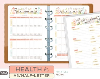 A5 HEALTH and FITNESS Kit - Printable Planner Inserts - Flora Theme - 14 sheets