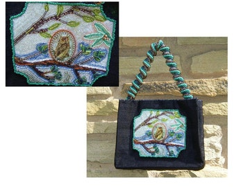 Beaded Black Silk Purse, Woodland Owl Scene, Spiral Beaded Handle