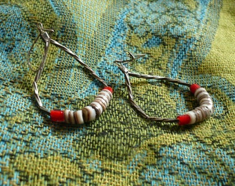 1980s-Liquid Silver w/Red Accents Loop Dangles