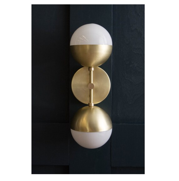 Vanity Light With Plug In Cord : Brass Orb Sconce