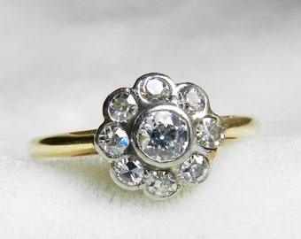 Antique Engagement Ring Diamond Platinum 14K Old European Cut Diamond Ring Half Carat tdw Art Deco Diamond Ring 1920s Engagement Ring