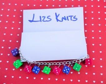 Silver Multicoloured Dice Die Charm Bead Bracelet