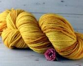 Sunflower Hand Dyed Yarn, worsted merino wool, yellow yarn