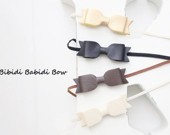 Headband- Set of 4- faux leather bows- Gold, Cream, Brown, Black- Hair accessories- headbands- baby shower gift- Photo prop-