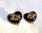 RESERVED FOR CHRISSY Vintage Wendy Gell Mickey Mouse Earrings, Disney Clip On Earrings, Black with Gold, 1980s