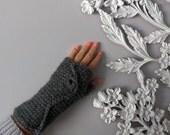 Gray Fingerless Glove . Fingerless Mitten . Fingerless Mitt . Knit Fingerless Glove . Smoking Gloves . Dark Grey Gloves . Gray Arm Warmers