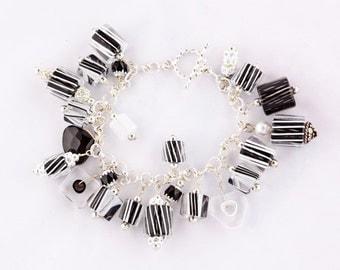 Cane Glass Bead Bracelet - Black & White