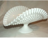 Milk glass Fenton banana bowl hobnail