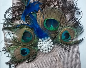 Peacock feather fascinator, wedding hair comb, feather hair pin