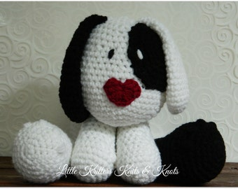 Black and White Puppy Dog Amigurumi Stuffed Toy