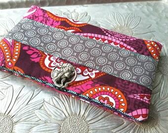 Women's Wallet, Pink Paisley  Wallet, Clutch