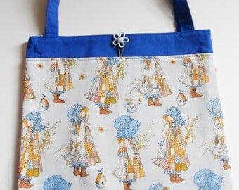 Holly Hobby Girl Girl in Bonnet Tote Bag Trick or Treat Bag Girl Craft Bag Girls Library Bag Girls Book Bag Easter Basket