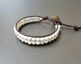 double Howlite  Leather  Bracelet