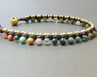 Round Jasper  Ball  Brass  Bracelet
