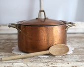 Vintage Copper Pot, Paul Revere Copper 3 Quart Pot with Lid, Paul Revere 1801 Copper Pot, French country kitchen pot