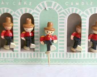 Vintage Birthday Cake Candle Holders, Vintage Wooden Cake Toppers, Complete Set of 6, Wood Soldier Birthday Cake Candle Holders