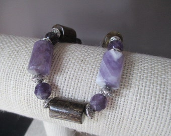 Sale  Handmade Bracelet Perfect  Purple and Brown Amber With Faceted Amethyst  7 1 / 4 Inch 7.25 Inch
