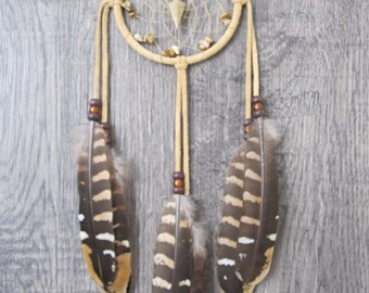 Dream Catcher Buckskin Suede with Reeves Venery Pheasant Feathers