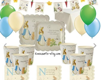 Peter rabbit party, peter rabbit bunting, Peter rabbit baby shower, christening, first birthday party, Peter rabbit supplies, DELUXE party