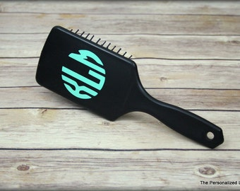 Monogram Paddle Brush - Personalized Custom Black Paddle Hair Brush Bride Bridesmaid Cheer Dance Gift