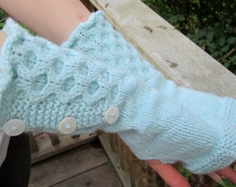 KNITTING PATTERN: Woven Circles Gauntlets/Fingerless Gloves, Instant PDF Download