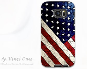 American Flag Galaxy S7 Case - Protective Dual Layer Galaxy  S 7 Case with USA Flag Art - Stars and Stripes - Samsung Galaxy S7 Case