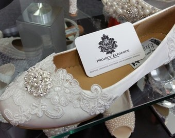 Eleya - Ivory Crystal & Lace Vintage Ballerina shoes  High Mid Kitten Heel Shoes