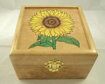 Maple Wood Wooden Woodburned Bright Sunflower Keepsake Jewelry or Memory Box