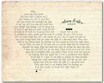 Any song lyrics - Customized Anniversary Wedding Gift - Wedding Song First Dance Song Wedding Vows Poetry - heart typography print